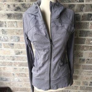 LULULEMON Grey Hooded Zip Up Jacket Size 6